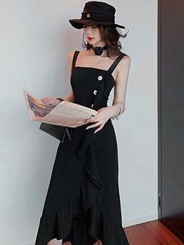 Fishtail Hem Black Evening Dress For Women