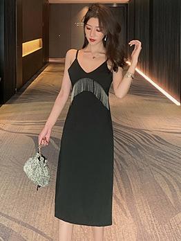 Tassel Decor V Neck Sleeveless Little Black Dress