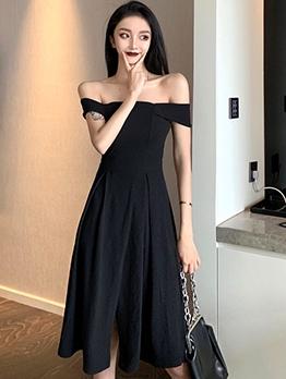 Vintage Style Off The Shoulder Little Black Dress