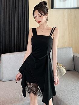 Irregular Hem Black Sleeveless Summer Dress