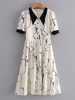 Single-Breasted White Short Sleeve Print Dress