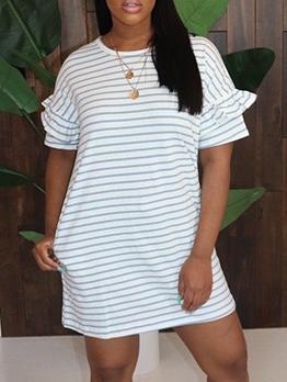 Crew Neck Striped Short Sleeve T-Shirt Dress