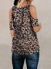 Animal Print Twist Cold Shoulder Ladies T-shirts