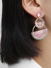 Creative Rhinestone Watermelon shape Drop Earrings