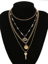 Retro Faux Pearl Eye Key Multi-Layer Pendant Necklace