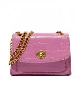 Twist Lock Solid Color Stone Grain Chain Shoulder Bags