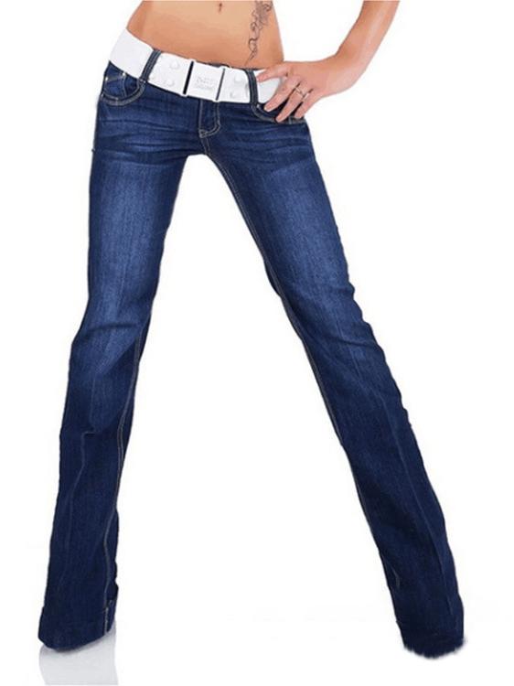 Hot Sale Dark Blue Women Long Low Rise Jeans