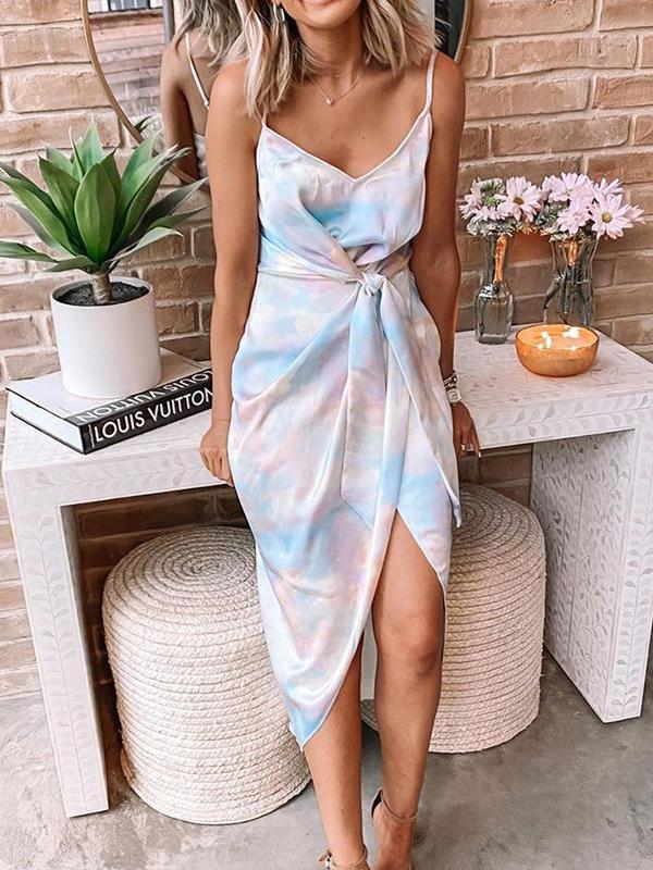 Tie Dye Camisole Wrap Maxi Dress