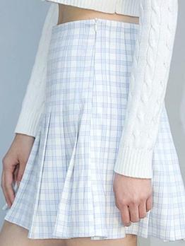 Vintage Plaid High Waist Short Pleated Skirt