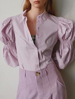 Simple Style Light Purple Ladies Puff Sleeve Blouse