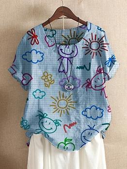 Cute Multicolored Cartoon Printed Oversized T Shirts