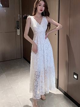 V Neck Sleeveless Lace Maxi Dress For Ladies