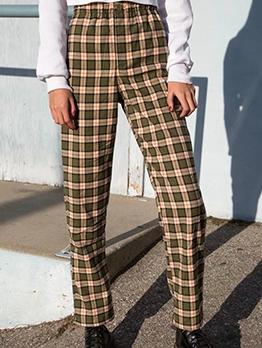Straight Leg Classic Plaid Long Pants For Women