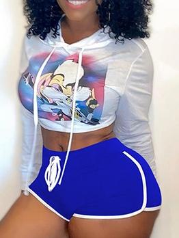 Contrast Trim Mid Waist Sports Short Pants