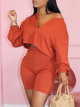 Solid V Neck Long Sleeve Crop Top And Shorts Set