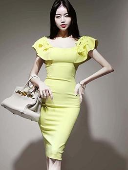 Elegant Lace Patchwork Ruffled Short Sleeve Dress