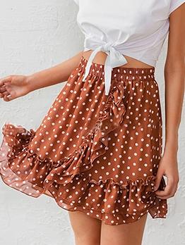 Polka Dot Elastic Waist Summer Ruffled Short Skirt