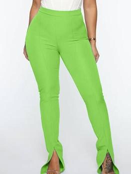 Solid Color Split Bottom Casual Pants