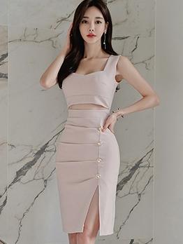Elegant Cutout Side Slit Front Button Sleeveless Dress