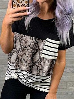 Round Neck Animal Print Camouflage Ladies T Shirts