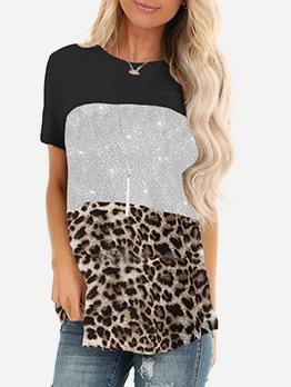 Contrast Color Leopard Panel Crew Neck Cheap T Shirts