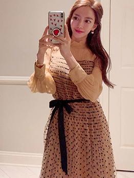 Mock Neck Polka Dots Long Sleeve Pleated Dress