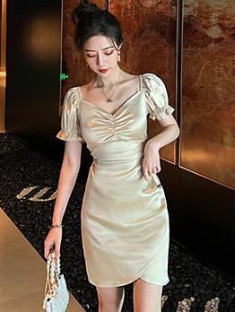 Court Style V Neck Puff Sleeve Sheath Satin Short Dress
