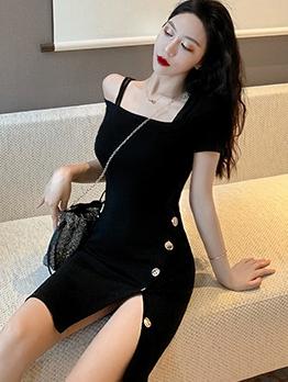 Off Shoulder Split Hem Black Short Dress