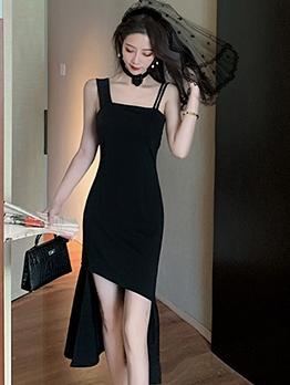 Square Neck Irregular Hem Little Black Dress