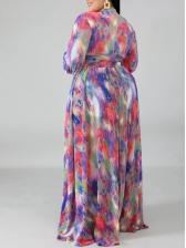 Color Block Long Sleeve Plus Size Two Piece Sets