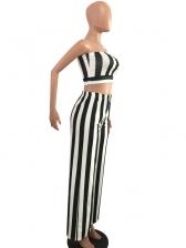 Striped Strapless Wide Leg Two Piece Pants Set