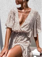 Loose v Neck Ruffled Beach Short Sleeve Dress
