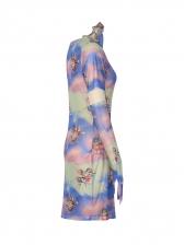 Tie Dye Gloves Two Piece Bodycon Dress
