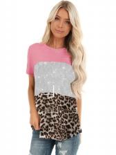 Contrast Color Leopard Panel Crew Neck T Shirts