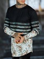 Fashion Color Block Printed Full Sleeve t Shirts