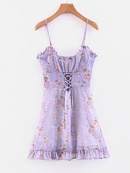 Hot Sale Floral Purple Sleeveless A-Line Dress