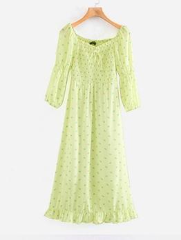 Puff Sleeve Print Green Ladies Dress For Summer