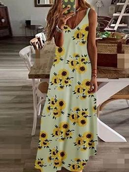 V Neck Printed Long Sleeveless Maxi Dress