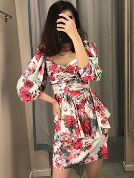 Lantern Sleeve Floral Short Sleeve A-Line Dress