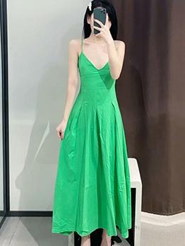 V Neck Fit And Flare Green Sleeveless Maxi Dress