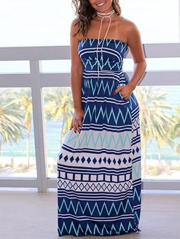 Geometric Print Strapless Maxi Dress For Women