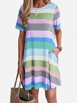 Contrast Color Short Sleeve T-Shirt Dress