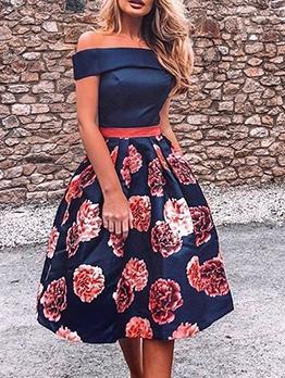 Off The Shoulder Fit And Flare Floral Dress