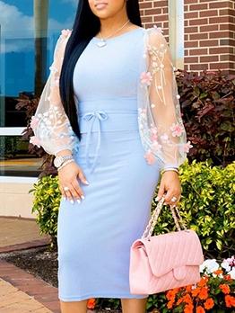 Gauze Embroidery Long Sleeve Midi Dress For Women