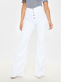 Button Fly Plain White Elastic Denim Flare Pants