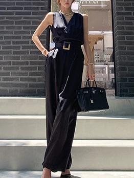 New Arrivals Side Pocket Black Wide Leg Ladies Jumpsuit