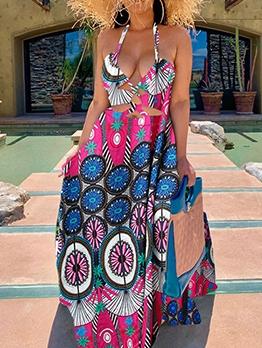 Sexy Deep V Neck Split Hem Print Halter Maxi Dress