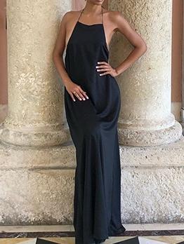 Hot Sale Backless Black Halter Maxi Dress