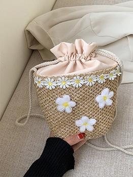 Stereo Flower Thin Rope Straw Crossbody Bucket Bag