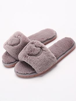 Heart Shape Winter House Fluffy Slippers